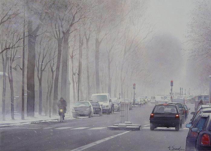 Neige sur l'avenue de Villier 0