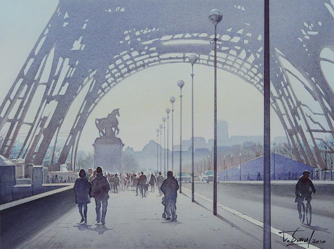 """Etude pour """"La Tour Eiffel et le cycliste"""" 0"""