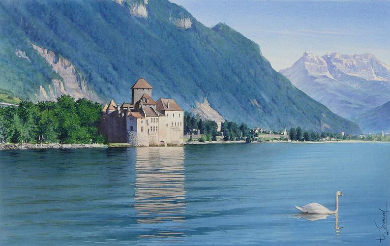 Le cygne et le Château de Chillon 0