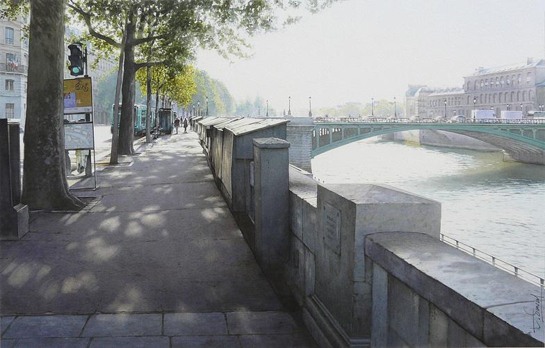 Les bouquinistes, le pont Notre-dame, et l'Hôtel-Dieu 0