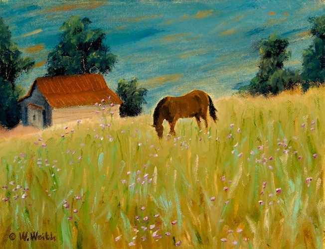 Horse and Wildflowers 0