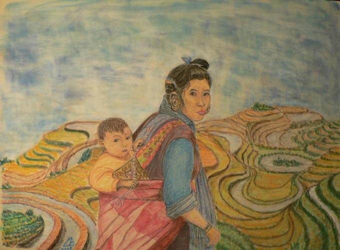 Femme et enfant dans la rizière 0