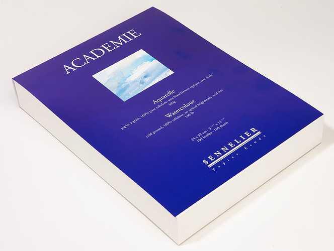 Bloc Aquarelle ''''Académie'''' collé tête 0