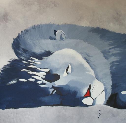 LE LION BLEU ENDORMI 0
