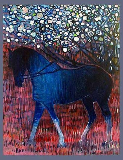"""""""Cheval bleu sur herbe rouge"""" 0"""