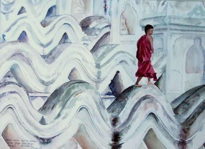 """moine sur la pagode à """"vagues"""" de Mingun 0"""
