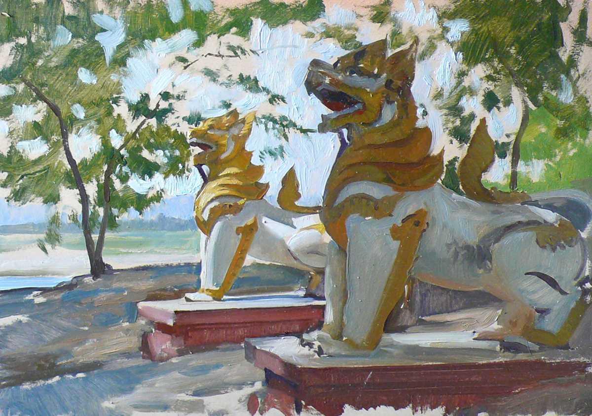 statues near new bagan