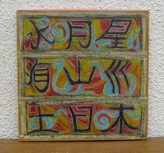 peinture abstraite, des caractères chinois 0